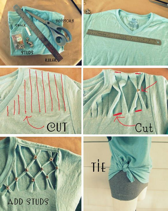 DIY un tricou decupat, din tricou mare