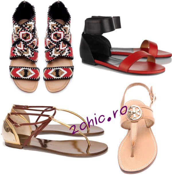 Diferite culori sandale cu talpa joasa