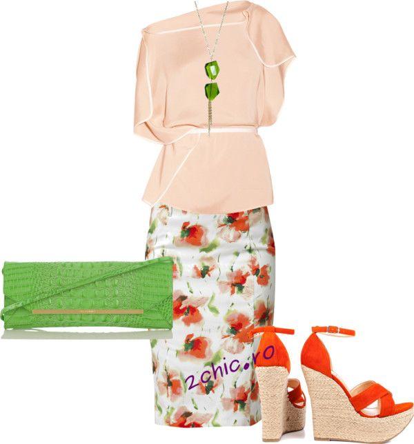 Fusta inflorata cu bluza coral, poseta, pantofi si colier