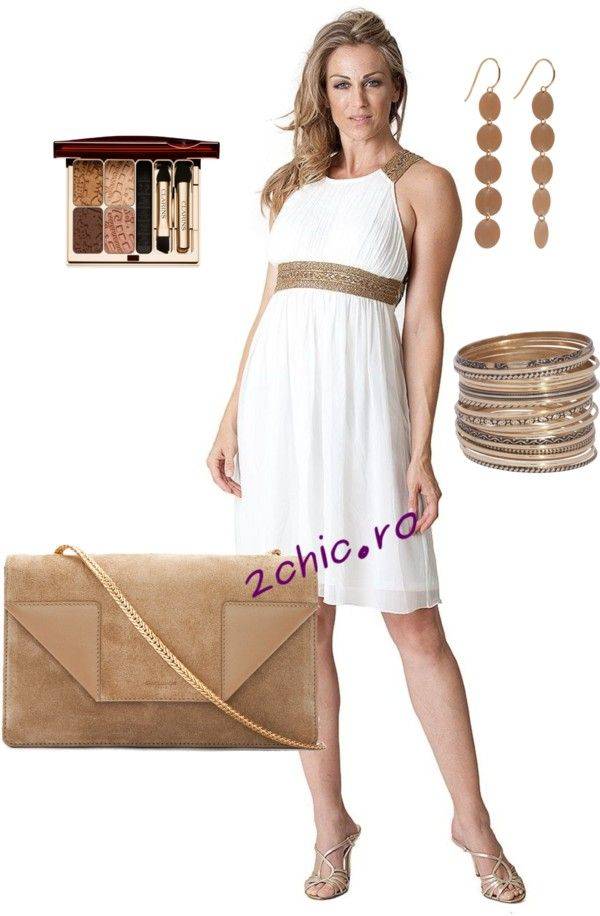 Rochie model grec accesorizata cu geanta, pantofi bratara