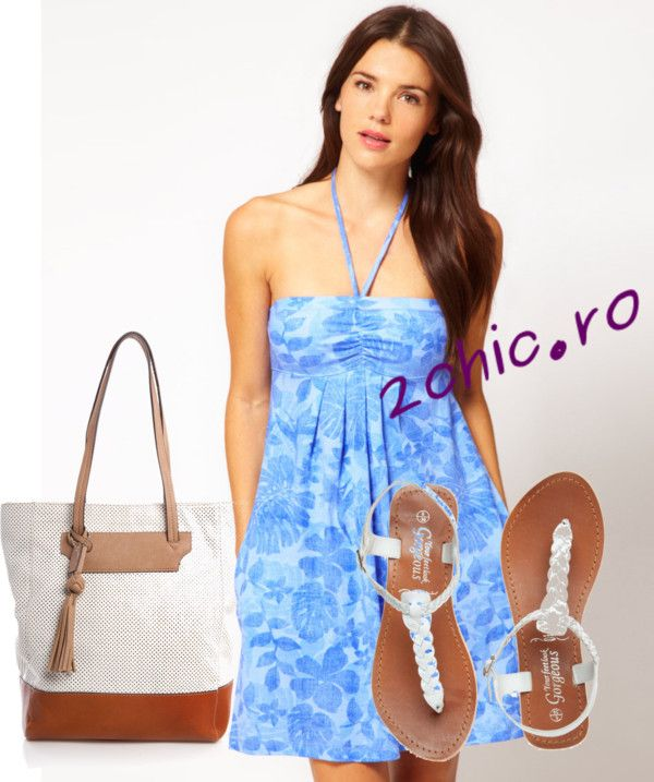 Rochie bleu cu accesorii - slapi, geanta maro-alb