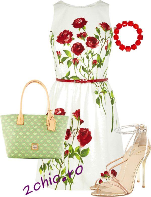 Rochie casual de vara cu trandafiri si pantofi nud