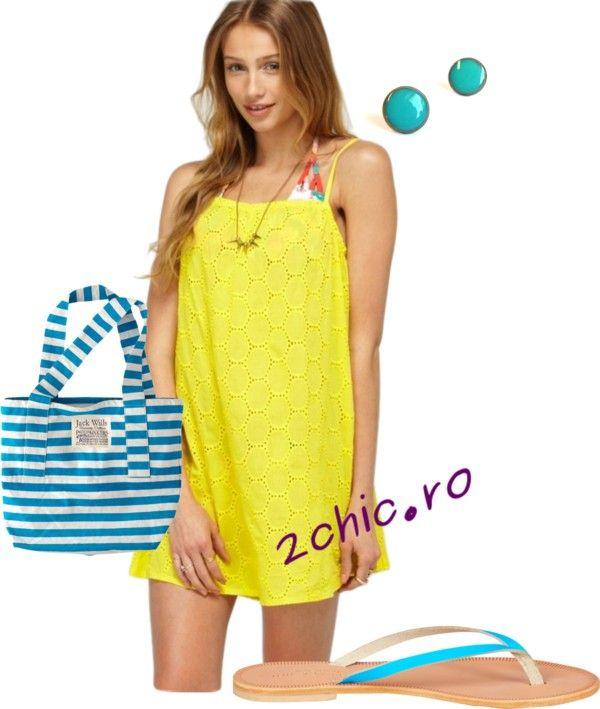 Rochie de plaja galbena cu accesorii turcoaz