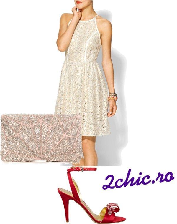 Rochie din dantela cu sandale rochii si plic