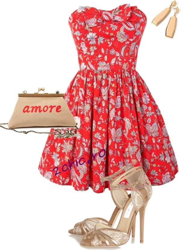 Rochie florala asortata cu sandale, geanta si cercei crem