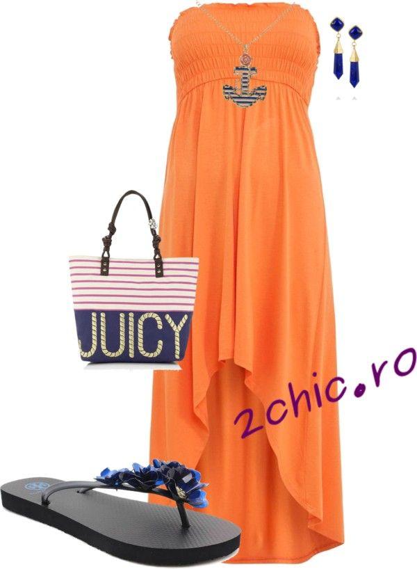 Rochie portocalie, geanta de plaja albastra, cercei si colier
