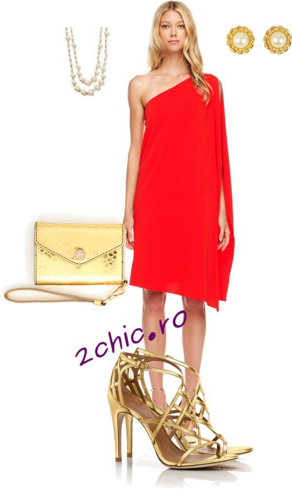 Rochie toga rosie asortata cu geanta si sandale aurii