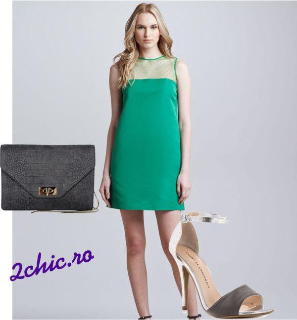 Rochie verde cu sandale si plic gri