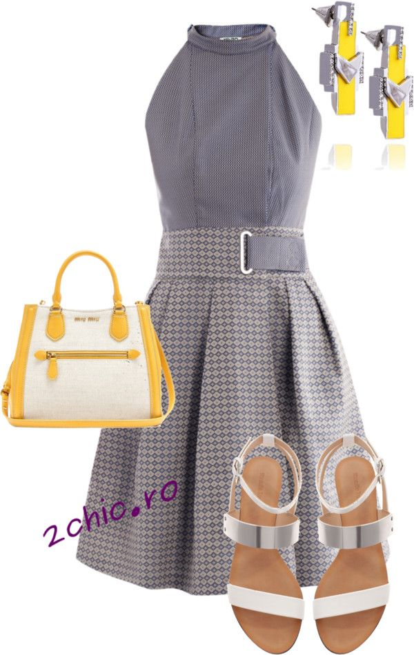 Sandale alb-gri cu talpa joasa,rochie gri, geanta alb cu galben