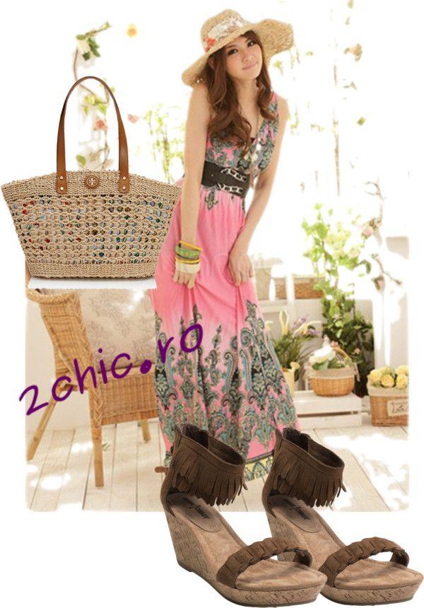 Tinuta boema, rochie, sandale geanta