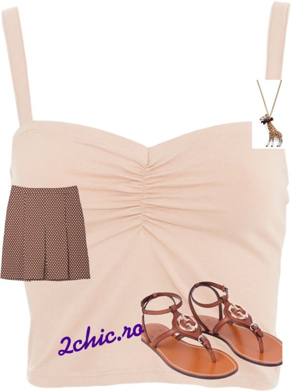 Top roz cu fusta, sandale si pandantiv maro