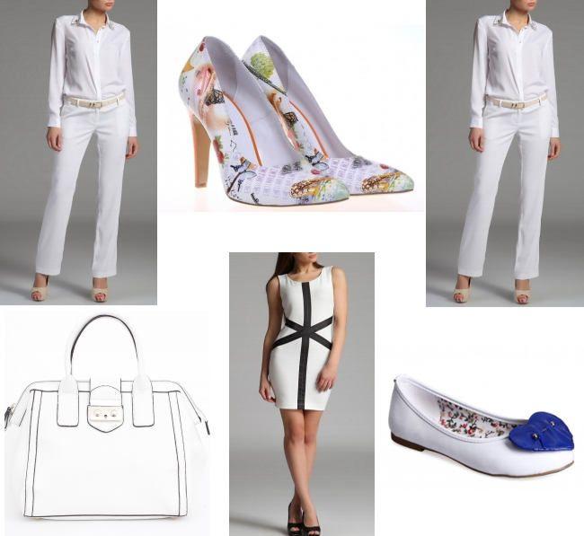 haine, genti, pantofi de vara in alb