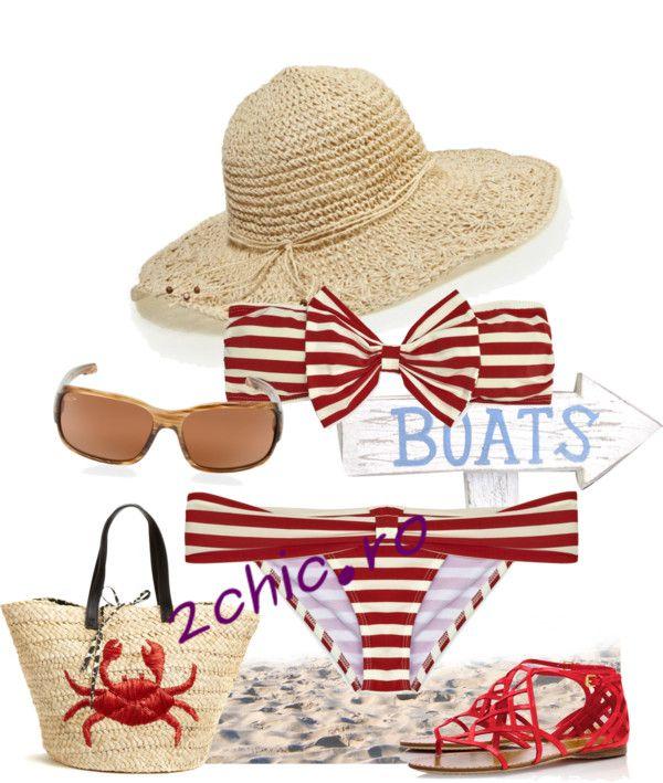 Costume de baie in dungi alb-rosu