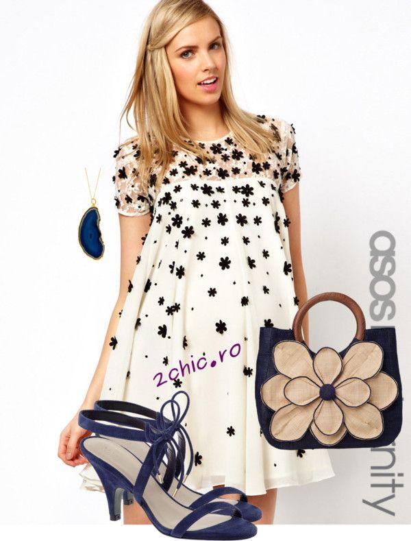 Rochie alba cu flori cu accesorii bleumarin - sandale, geanta, colier