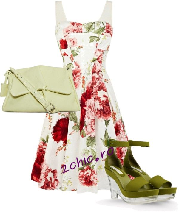 Rochie cu flori asortata cu pantofi si geanta