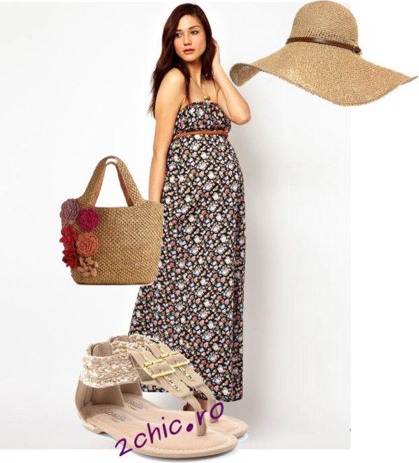 Rochie cu flori pentru femeile gravide