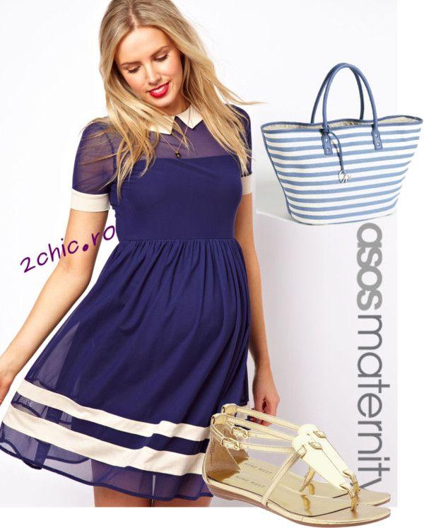 Rochie pentru gravide de culoare bleumarin cu sandale si geanta
