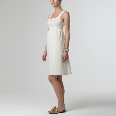 Rochie alba cu elastic sub bust
