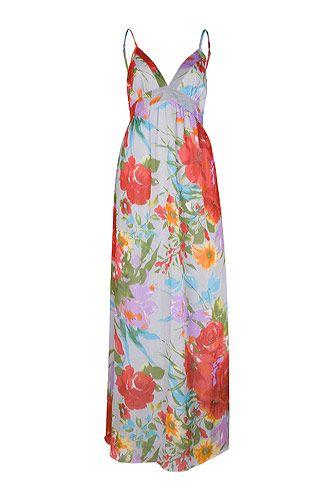 Rochie maxi cu bretele, pentru vara, cu flori