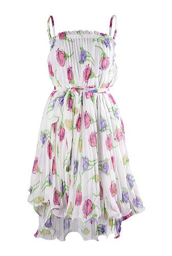 Rochie plisata din voal cu flori