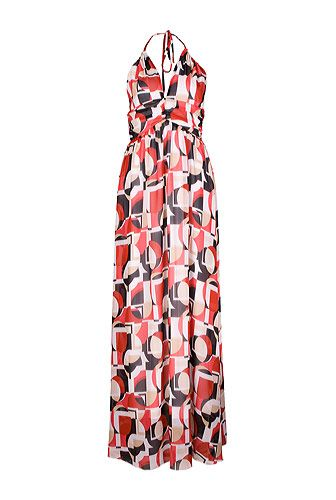 Rochie lunga cu bretele, pentru vara, cu imprimeu geometric