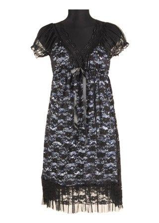 Rochie din dantela neagra cu captuseala contrast