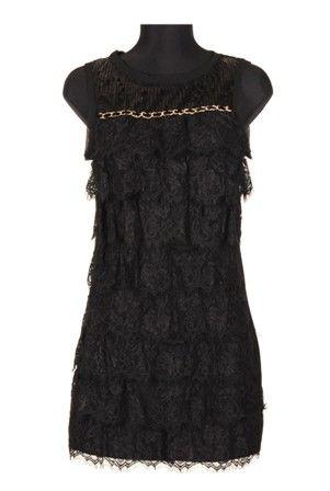 Rochie neagra din dantela cu volane, rochie de seara