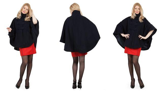 Pelerina stofa femei neagra