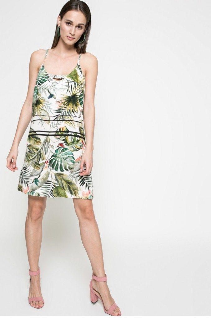 rochie-de-vara-cu-bretele-imprimata-cu-plante