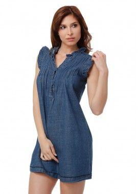 rochie trendy realizata din denim albastru pastel