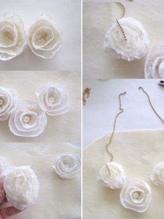 Fa-ti singura un colier cu trandafiri din dantela