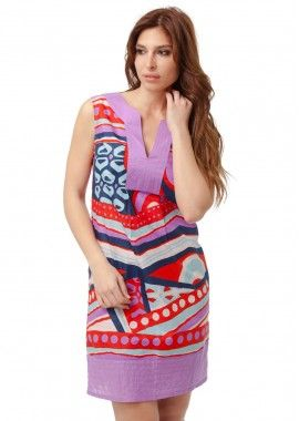 rochie de culoare lila realizata din material fin imprimeu grafic colorat