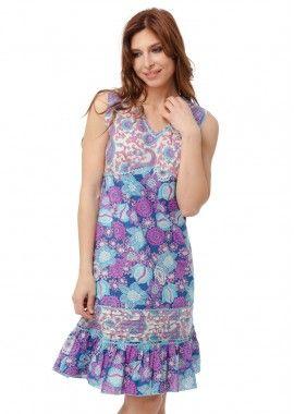 rochie chic cu imprimeu floral si imprimeu paisley colorat in nuante de albastru si roz